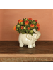 HomArt Elephant Cachepot, Ceramic - Fancy White