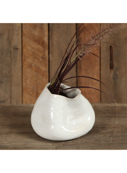 HomArt Canyon Ceramic Vase - Sm - Fancy White