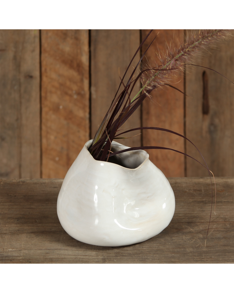 HomArt Canyon Ceramic Vase - Sm - Fancy White