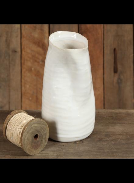 HomArt Canyon Ceramic Vase - Lrg - Fancy White