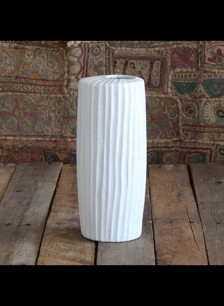 HomArt Latitude Ceramic Vase - Tall Narrow - Med - Matte White