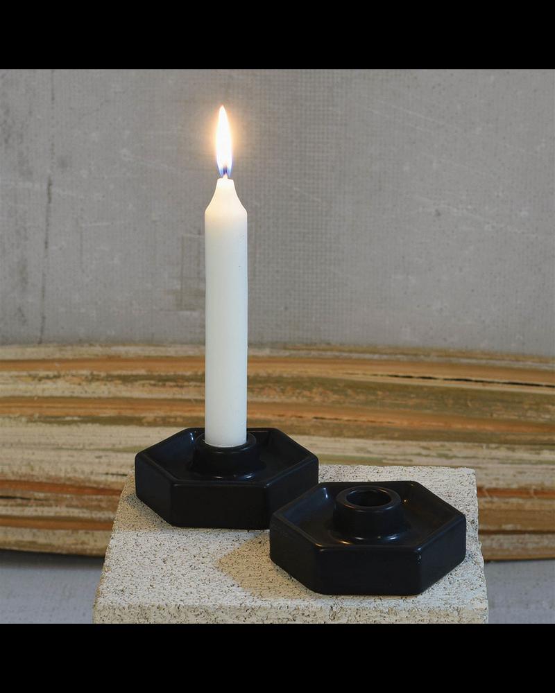 HomArt Hexagon Ceramic Taper Holder - Matte Black - Set of 2