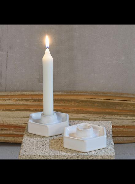 HomArt Hexagon Ceramic Taper Holder - Matte White - Set of 2