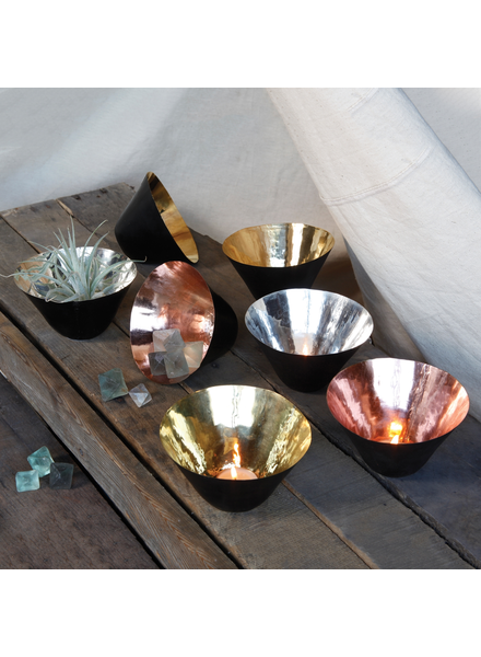 HomArt Conical Bowl - Metal - Black - Copper