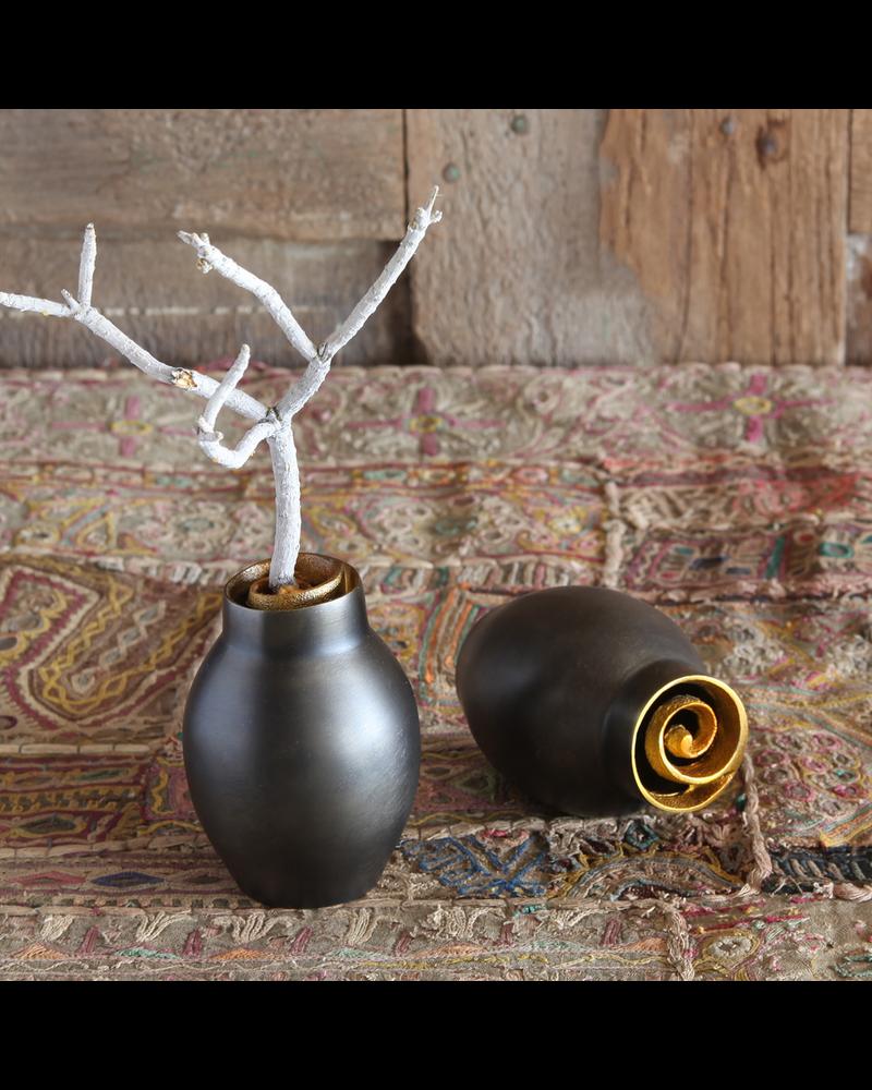 HomArt Annis Cast Metal Vase - Med - Black with Gold Rim