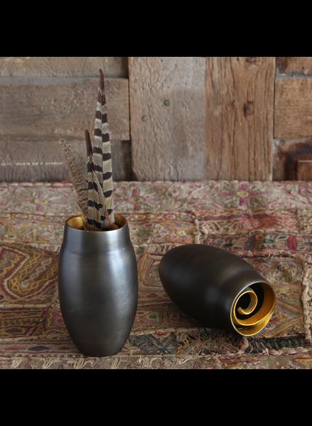 HomArt Annis Cast Metal Vase - Lrg - Black with Gold Rim
