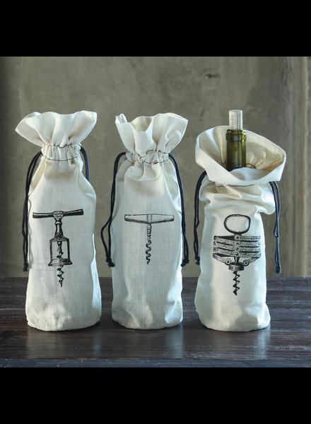 HomArt Cotton Wine Bag, Set of 3 - Assorted - Corkscrews