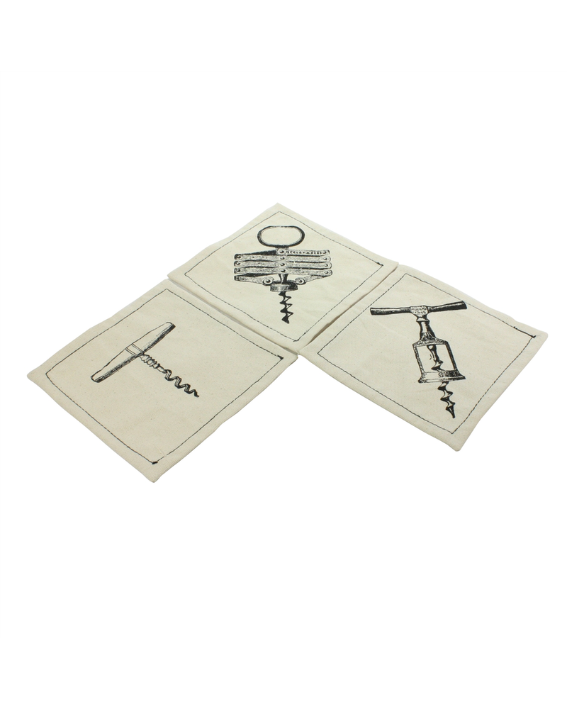 HomArt Cotton Coasters - Set of 6 - Corkscrews