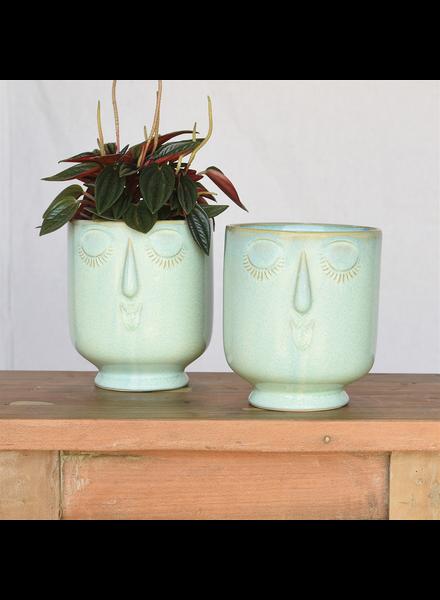 HomArt Large Teal Celia Cachepot, Ceramic
