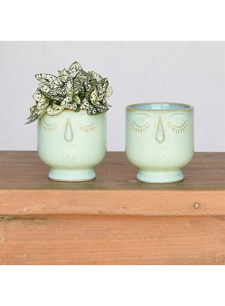 HomArt Small Teal Celia Cachepot, Ceramic - Set of 2