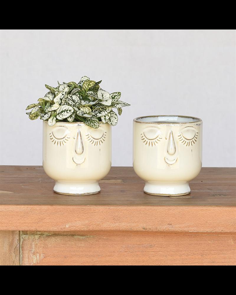 HomArt Small Celia Cachepot, White, Ceramic - Set of 2