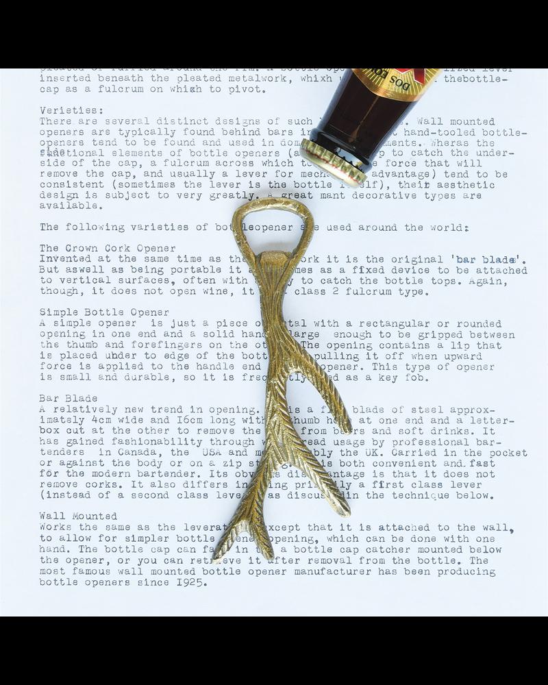 HomArt Antler Bottle Opener, Brass