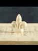 HomArt Antique White Cast Iron Fleur De Lys Place Card Holder - Set of 2
