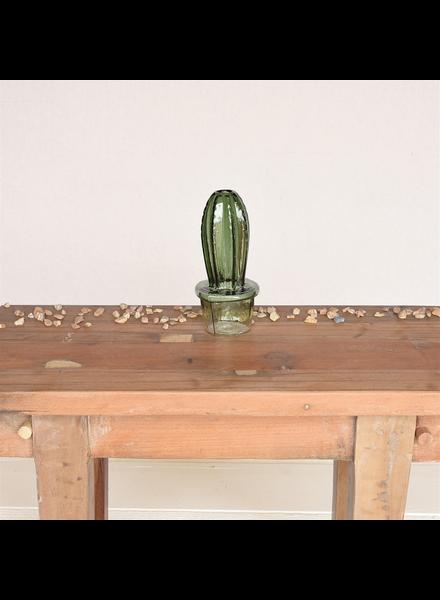 HomArt Column Cactus Vase, Glass - Green