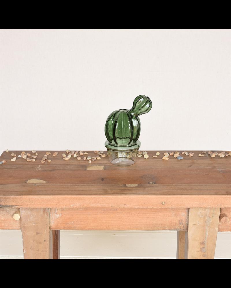 HomArt Barrel Cactus Vase, Glass - Green