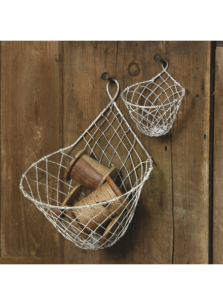 HomArt Small Otis Wire Wall Basket - Zinc Whitewash - Set of 2