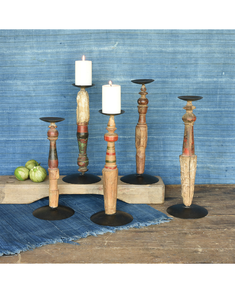 HomArt Gypsy Candle Holder, Turned Wood