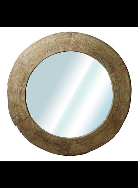 HomArt Nomad Reclaimed Wood Wheel Mirror - Natural