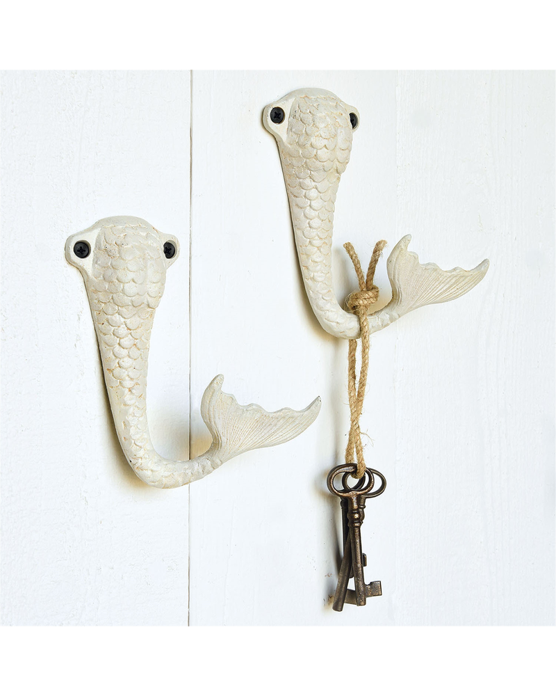 HomArt Antique White Mermaid Tail Wall Hook Cast Iron - Set of 2