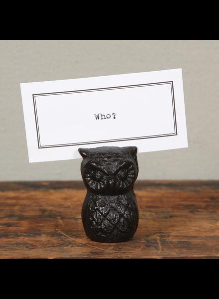 HomArt Owl Cast Iron Place Card Holder - Set of 2
