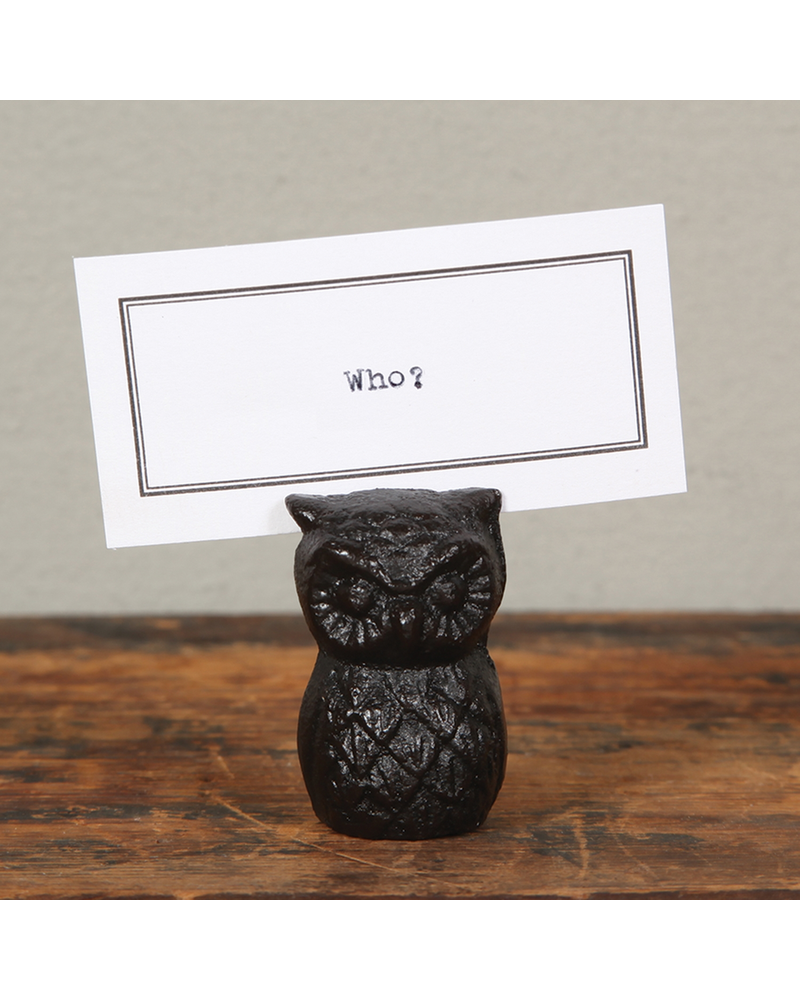 HomArt Owl Cast Iron Place Card Holder - Set of 2