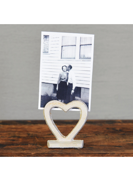 HomArt Heart Cast Iron Place Card Holder - White - Set of 2