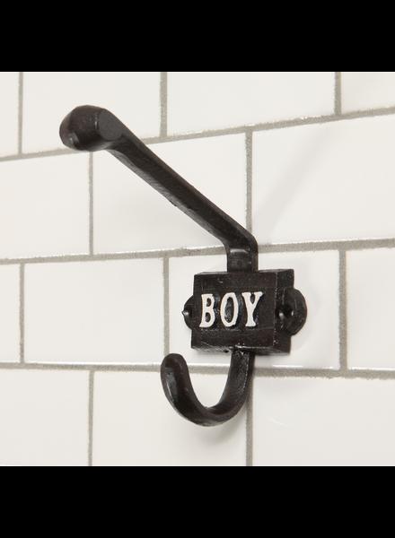 HomArt Cast Iron Hook, Boy - Black | White - Set of 2