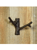 HomArt Faux Bois Cast Iron Wall Hook, Twig - Brown - Set of 2