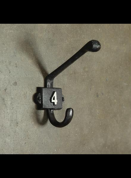 HomArt Cast Iron Number 4 Hook - Black | White - Set of 2