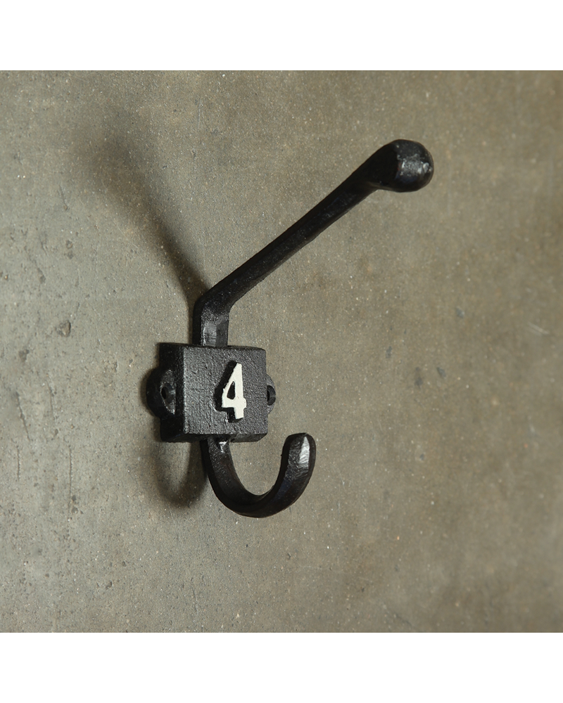 HomArt Cast Iron Number 4 Hook - Black | White - Set of 2