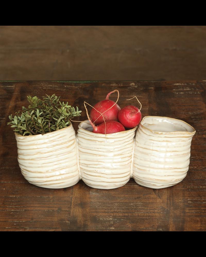 HomArt Bower Clustered Ceramic Vase - Triple - Fancy White
