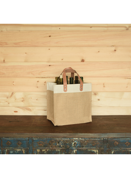 HomArt Uptown Wine Tote with Leather Handles - Jute and Canvas