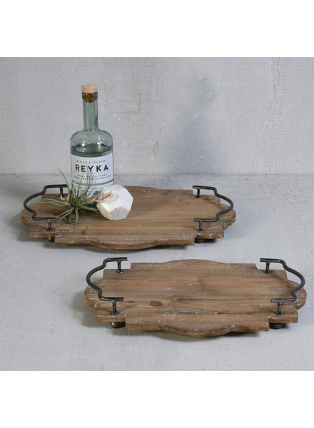 HomArt Pisco Wood Tray with Metal Handles - Sm