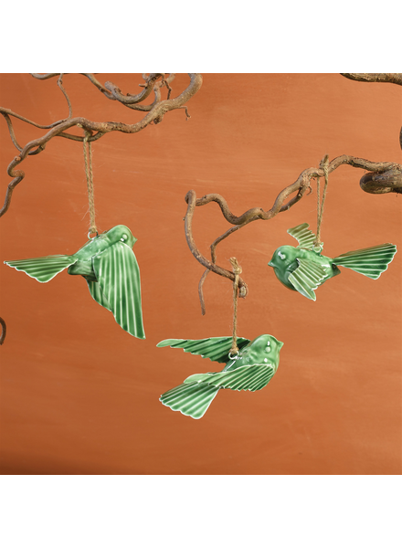 HomArt Tilda Enamel Birds, Green - Set of 3