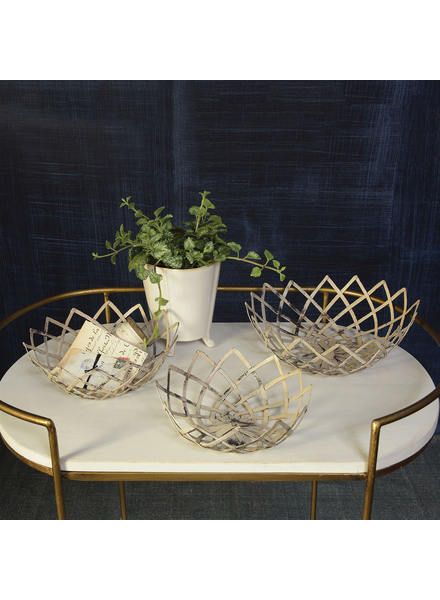 HomArt Woven Metal Bowls - Set of 3 - Antique White