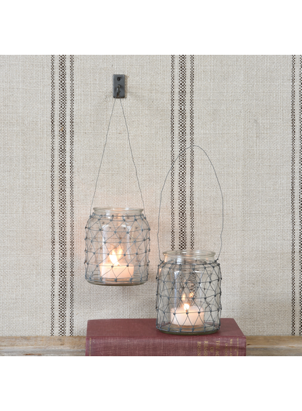 HomArt Tulle Wire & Glass Candleholder - Clear