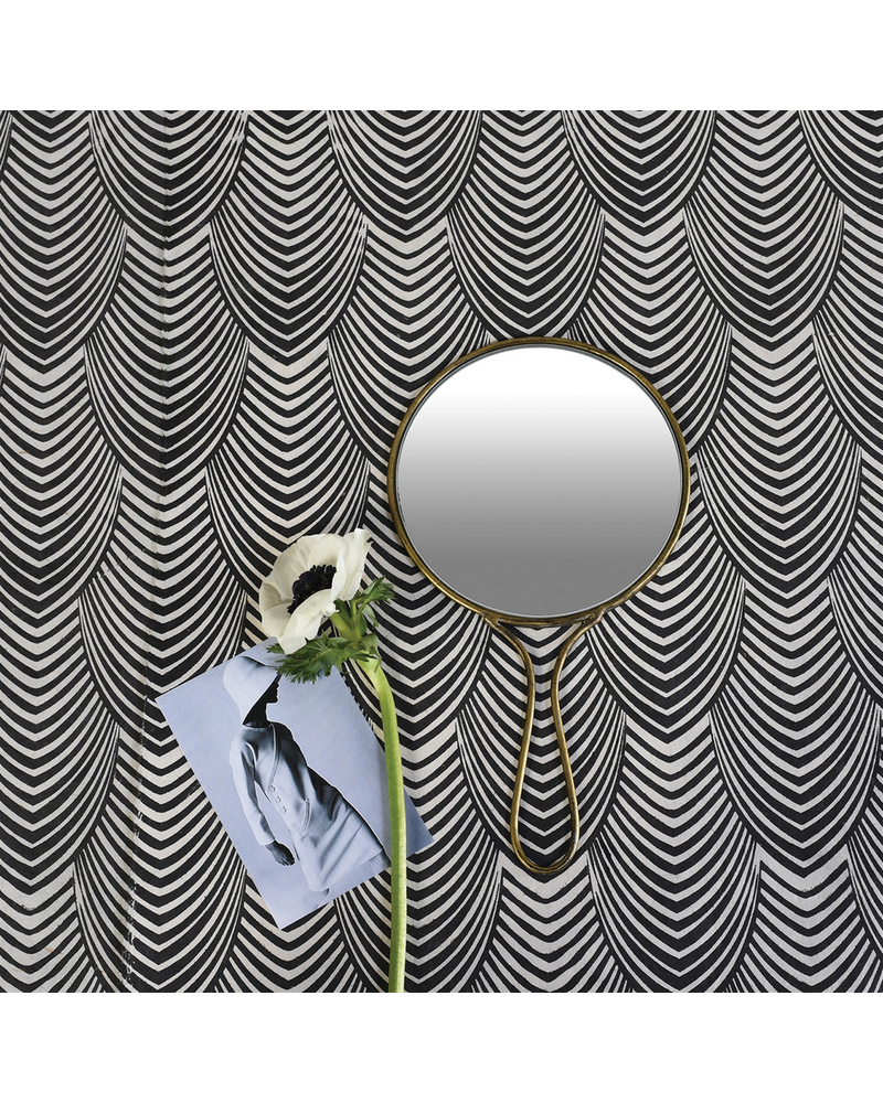 HomArt Lena Hand Mirror, Brass - Round - Brass