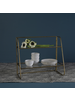 HomArt Lena Two-Tier Stand with Glass Shelves, Brass - Brass