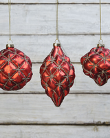 HomArt Quilted Glass & Glitter Ornaments - Set of 3