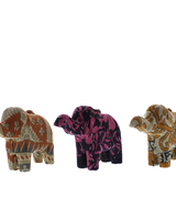 HomArt Vintage Sari Elephant Ornament - Set of 2