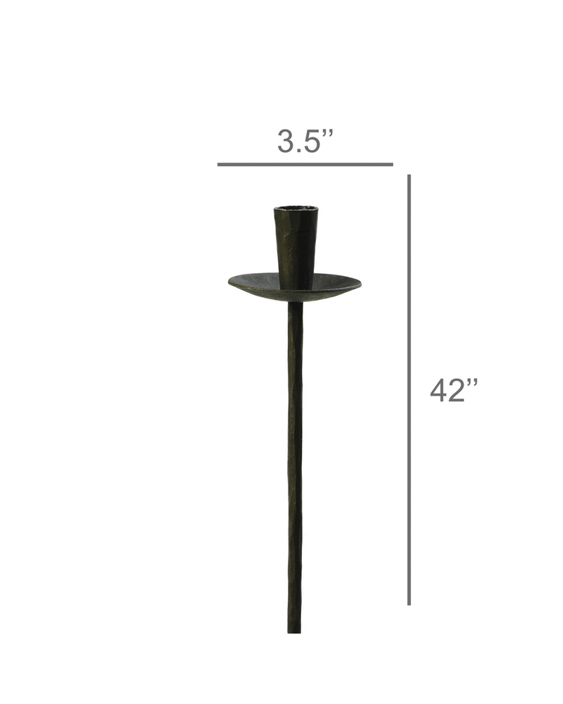 HomArt Garden Stake Taper Holder, Iron - Black