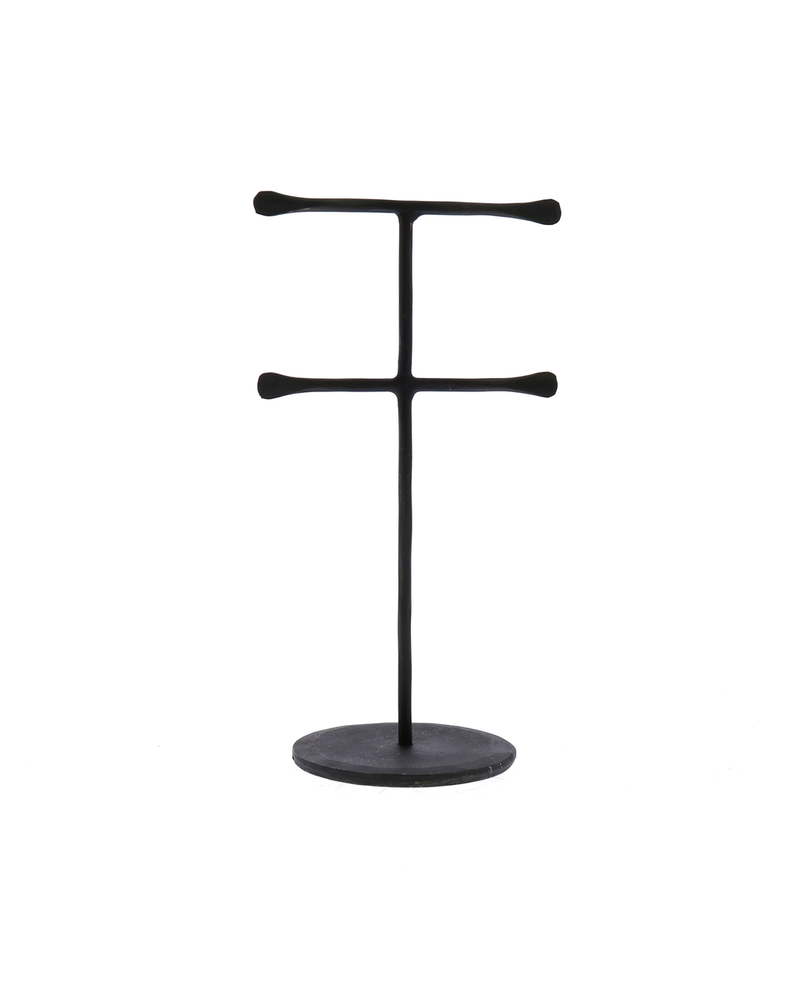 HomArt Maddox Forged Iron Jewelry Double T Stand - Mini - Black
