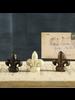 HomArt Antique Black Cast Iron Fleur De Lys Place Card Holder - Set of 2