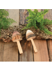 HomArt Brown Wood Mushroom - Set of 4