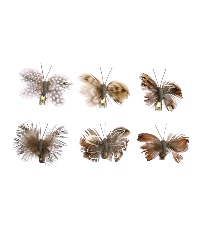 HomArt Mini Butterflies on Clips, Feather - Box of 12, Assorted