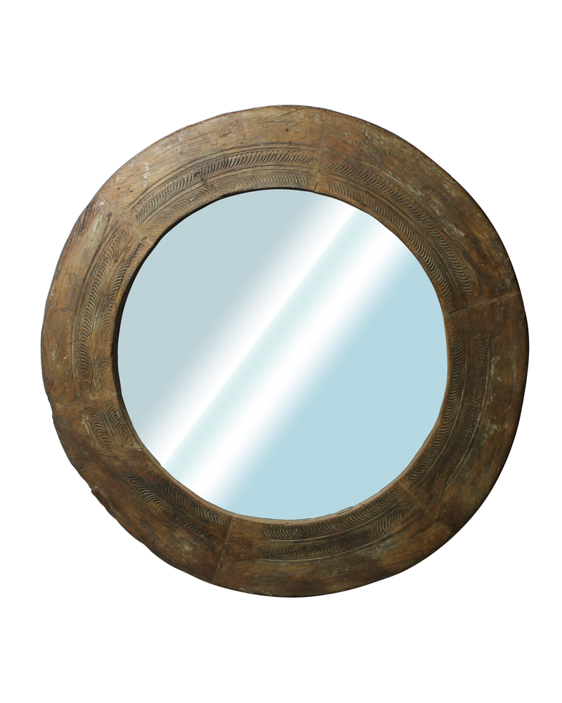 HomArt Nomad Reclaimed Wood Wheel Mirror - Natural