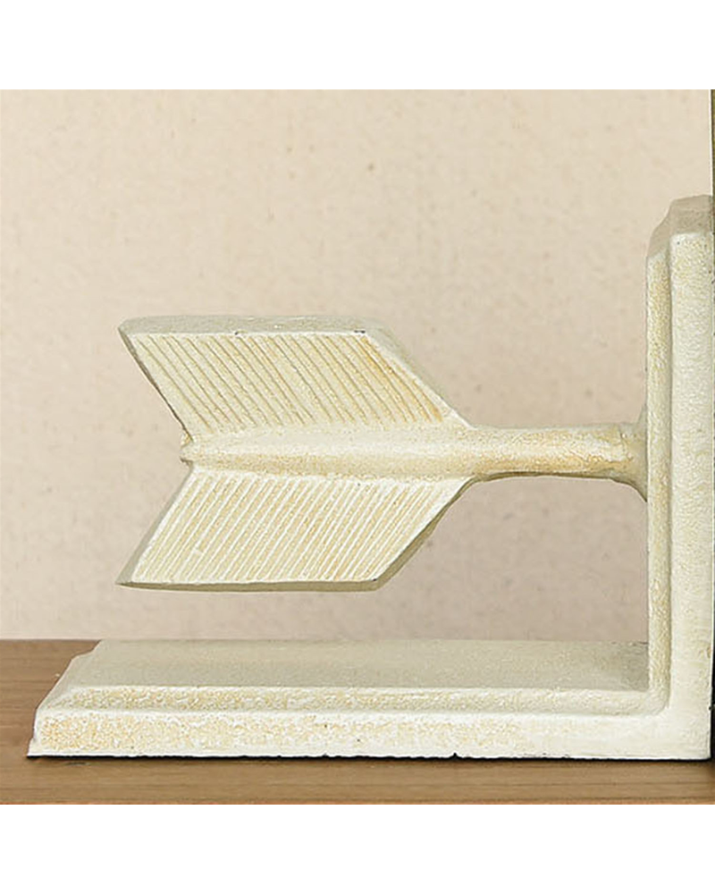 HomArt Arrow Cast Iron Bookends - Antique White