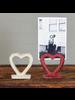 HomArt Heart Cast Iron Place Card Holder - White - Set of 2