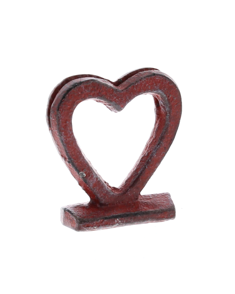 HomArt Heart Cast Iron Place Card Holder - Red - Set of 2