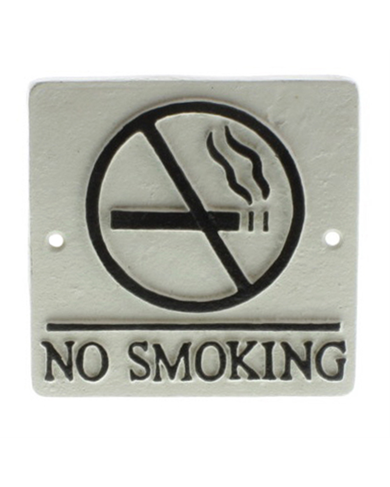 HomArt Cast Iron Sign - No Smoking - White with Black Words